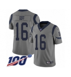 Men's Los Angeles Rams #16 Jared Goff Limited Gray Inverted Legend 100th Season Football Jersey