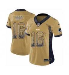 Women's Nike Los Angeles Rams #16 Jared Goff Limited Gold Rush Drift Fashion NFL Jersey