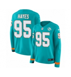 Women's Nike Miami Dolphins #95 William Hayes Limited Aqua Therma Long Sleeve NFL Jersey
