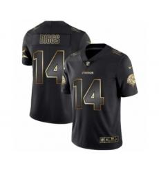 Men Minnesota Vikings #14 Stefon Diggs Black Golden Edition 2019 Vapor Untouchable Limited Jersey
