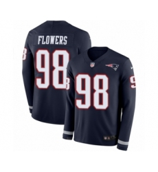 Men's Nike New England Patriots #98 Trey Flowers Limited Navy Blue Therma Long Sleeve NFL Jersey
