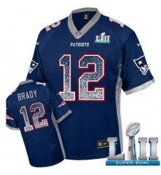 Men's Nike New England Patriots #12 Tom Brady Elite Navy Blue Drift Fashion Super Bowl LII NFL Jersey