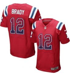 Men's Nike New England Patriots #12 Tom Brady Elite Red Alternate Drift Fashion NFL Jersey