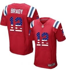 Men's Nike New England Patriots #12 Tom Brady Elite Red Alternate USA Flag Fashion NFL Jersey
