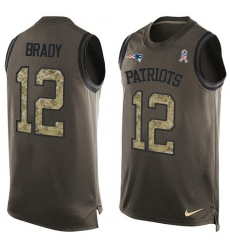 Men's Nike New England Patriots #12 Tom Brady Limited Green Salute to Service Tank Top NFL Jersey