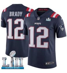 Men's Nike New England Patriots #12 Tom Brady Limited Navy Blue Rush Vapor Untouchable Super Bowl LII NFL Jersey