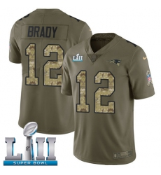 Men's Nike New England Patriots #12 Tom Brady Limited Olive/Camo 2017 Salute to Service Super Bowl LII NFL Jersey