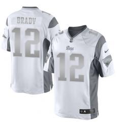 Men's Nike New England Patriots #12 Tom Brady Limited White Platinum NFL Jersey