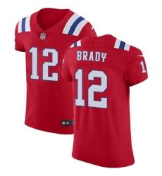 Men's Nike New England Patriots #12 Tom Brady Red Alternate Vapor Untouchable Elite Player NFL Jersey