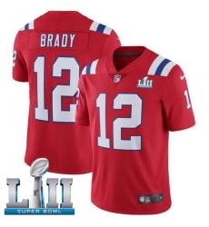 Men's Nike New England Patriots #12 Tom Brady Red Alternate Vapor Untouchable Limited Player Super Bowl LII NFL Jersey