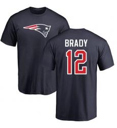 NFL Nike New England Patriots #12 Tom Brady Navy Blue Name & Number Logo T-Shirt