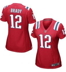 Women's Nike New England Patriots #12 Tom Brady Game Red Alternate NFL Jersey