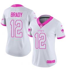 Women's Nike New England Patriots #12 Tom Brady Limited White/Pink Rush Fashion NFL Jersey