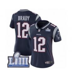 Women's Nike New England Patriots #12 Tom Brady Navy Blue Team Color Vapor Untouchable Limited Player Super Bowl LIII Bound NFL Jersey