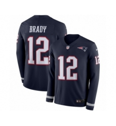Youth Nike New England Patriots #12 Tom Brady Limited Navy Blue Therma Long Sleeve NFL Jersey