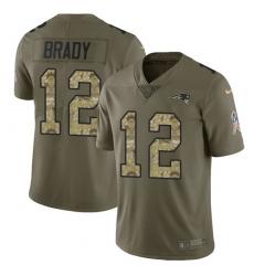 Youth Nike New England Patriots #12 Tom Brady Limited Olive/Camo 2017 Salute to Service NFL Jersey