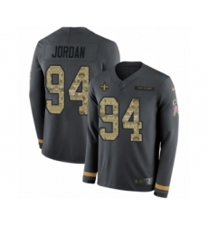 Men's Nike New Orleans Saints #94 Cameron Jordan Limited Black Salute to Service Therma Long Sleeve NFL Jersey