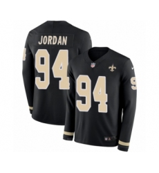 Men's Nike New Orleans Saints #94 Cameron Jordan Limited Black Therma Long Sleeve NFL Jersey