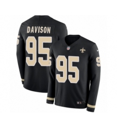 Men's Nike New Orleans Saints #95 Tyeler Davison Limited Black Therma Long Sleeve NFL Jersey