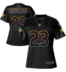 Women's Nike New Orleans Saints #23 Marshon Lattimore Game Black Fashion NFL Jersey