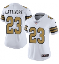 Women's Nike New Orleans Saints #23 Marshon Lattimore Limited White Rush Vapor Untouchable NFL Jersey
