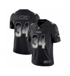 Men Oakland Raiders #34 Bo Jackson Black Smoke Fashion Limited Jersey