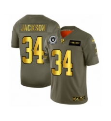 Men's Oakland Raiders #34 Bo Jackson Limited Olive Gold 2019 Salute to Service Football Jersey