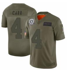 Men's Oakland Raiders #4 Derek Carr Limited Camo 2019 Salute to Service Football Jersey