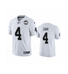 Men's Oakland Raiders #4 Derek Carr White 60th Anniversary Vapor Untouchable Limited Player 100th Season Football Jersey