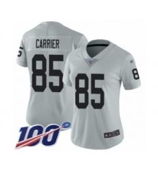 Women's Oakland Raiders #85 Derek Carrier Limited Silver Inverted Legend 100th Season Football Jersey