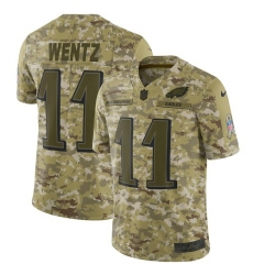 Men's Nike Philadelphia Eagles #11 Carson Wentz Limited Camo 2018 Salute to Service NFL Jersey