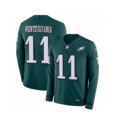 Men's Nike Philadelphia Eagles #11 Carson Wentz Limited Green Therma Long Sleeve Wentzylvania NFL Jersey