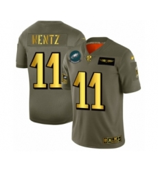 Men's Philadelphia Eagles #11 Carson Wentz Limited Olive Gold 2019 Salute to Service Football Jersey
