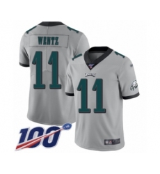 Men's Philadelphia Eagles #11 Carson Wentz Limited Silver Inverted Legend 100th Season Football Jersey