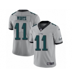 Men's Philadelphia Eagles #11 Carson Wentz Limited Silver Inverted Legend Football Jersey