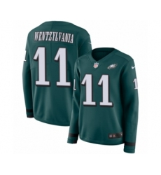 Women's Nike Philadelphia Eagles #11 Carson Wentz Limited Green Therma Long Sleeve Wentzylvania NFL Jersey