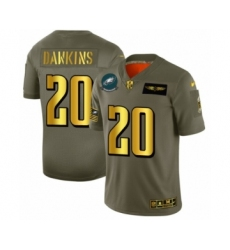 Men's Philadelphia Eagles #20 Brian Dawkins Limited Olive Gold 2019 Salute to Service Football Jersey