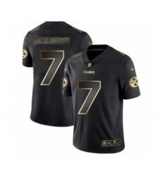 Men Pittsburgh Steelers #7 Ben Roethlisberger Black Golden Edition 2019 Vapor Untouchable Limited Jersey