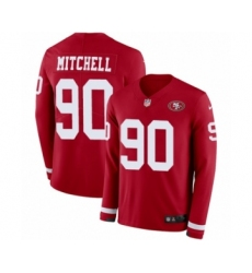 Men's Nike San Francisco 49ers #90 Earl Mitchell Limited Red Therma Long Sleeve NFL Jersey