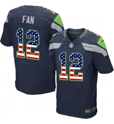 Men's Nike Seattle Seahawks 12th Fan Elite Navy Blue Home USA Flag Fashion NFL Jersey