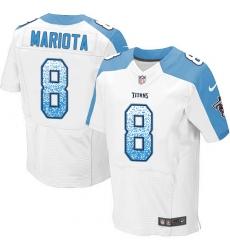 Men's Nike Tennessee Titans #8 Marcus Mariota Elite White Road Drift Fashion NFL Jersey