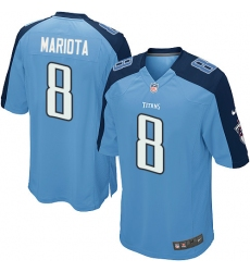 Men's Nike Tennessee Titans #8 Marcus Mariota Game Light Blue Team Color NFL Jersey