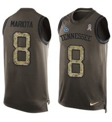 Men's Nike Tennessee Titans #8 Marcus Mariota Limited Green Salute to Service Tank Top NFL Jersey