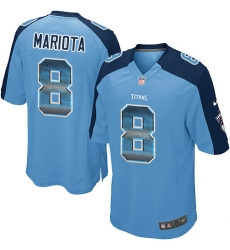 Men's Nike Tennessee Titans #8 Marcus Mariota Limited Light Blue Strobe NFL Jersey