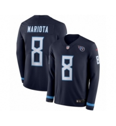Men's Nike Tennessee Titans #8 Marcus Mariota Limited Navy Blue Therma Long Sleeve NFL Jersey