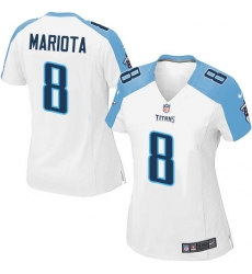 Women's Nike Tennessee Titans #8 Marcus Mariota Game White NFL Jersey