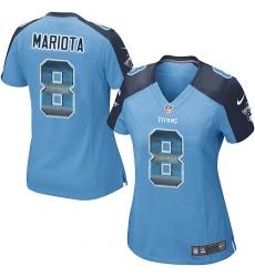 Women's Nike Tennessee Titans #8 Marcus Mariota Limited Light Blue Strobe NFL Jersey