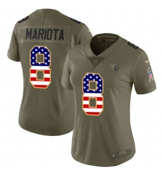 Women's Nike Tennessee Titans #8 Marcus Mariota Limited Olive/USA Flag 2017 Salute to Service NFL Jersey