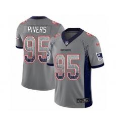 Men's Nike New England Patriots #95 Derek Rivers Limited Gray Rush Drift Fashion NFL Jersey