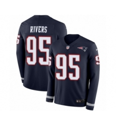 Men's Nike New England Patriots #95 Derek Rivers Limited Navy Blue Therma Long Sleeve NFL Jersey